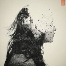 Abstract Drawing of Woman's Head and Cityscape
