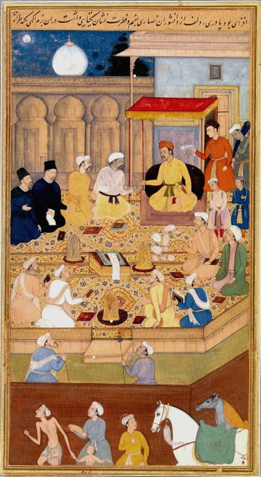 Mughal emperor Akbar holding a religious assembly at the Ibādat Khāna